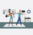 people do sport exercises together woman holding vector image vector image