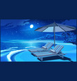 picturesque beach umbrella and deck chairs at vector image vector image