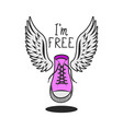 pink shoe with wings and handwritten inscription vector image