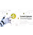 robotic hand touch dollar sign button on digital vector image vector image