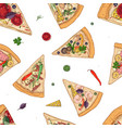 seamless pattern with slices of different pizza vector image vector image