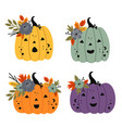 set of isolated cute pumpkins with flowers vector image