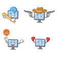 set of monitor character with baseball cowboy vector image vector image