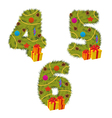 set of numbers Christmas tree from 4 to 6 vector image vector image