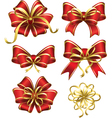 Set of red gift bows vector image vector image