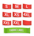 size label fabric realistic set bright vector image vector image