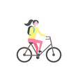 student with backpack riding bike isolated vector image