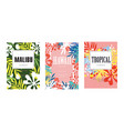 summer poster with tropical and exotic leaf vector image vector image