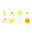 sun icon set yellow sign collection summer vector image