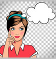 thinking woman in pop art style vector image vector image