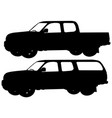 two pick up trucks silhouettes vector image