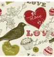 Vintage bird cupcakes Pattern vector image vector image
