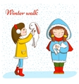 Winter walk vector image vector image
