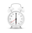 alarm clock white realistic 3d with red arrow vector image vector image