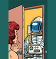 astronaut came to visit a woman door was vector image vector image