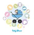 Baby boy baptism invitation card vector image vector image