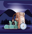 bag of camping with accessories in nightscape vector image