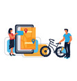 bike sharing and bicycle rent banner with people vector image vector image