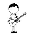 black icon body man cartoon vector image