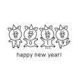 black line drawing four pigs dancing celebrating vector image vector image
