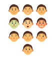 boy or man different face emotions collection vector image vector image