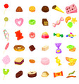 candy icon set cartoon style vector image vector image