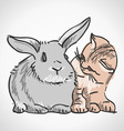 Cat and Rabbit vector image vector image