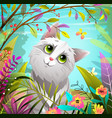 cat or kitten playing in nature with butterfly vector image