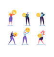 Characters people holding various emoticons emoji