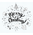 Christmas postcard template with doodles vector image vector image