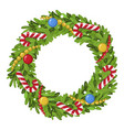 christmas wreath decoration icon traditional vector image