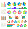 collection of infographics colourful on white vector image vector image
