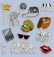 colorful stickers set summer traveling vector image