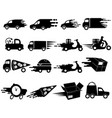 delivery icons set collection black and white vector image