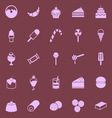 Dessert color icons on dark background vector image vector image