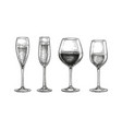 glasses with champagne and wine vector image vector image