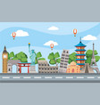 global journey and international place destination vector image vector image