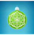 Green Ball with Snowflake Merry Christmas vector image vector image
