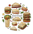 hand drawn set of different types of burgers vector image