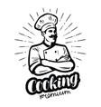 happy cook in chefs hat cooking cuisine concept vector image