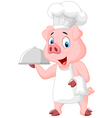 Happy Pig Chef Holding A Platter vector image vector image