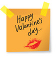 happy valentines day notes on sticky paper vector image