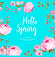 hello spring card over blue background vector image