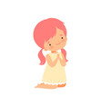little girl character kneeling while praying vector image
