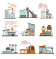 nuclear power plant or factory isolated icons vector image