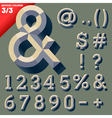 old school beveled alphabet vector image vector image