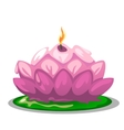 Pink candle in shape of a Lotus flower vector image vector image