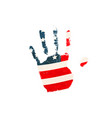 realistic human palm print with usa flag on white vector image