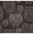 Seamless pattern with doodle owls vector image