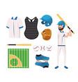 set baseball uniform and professional player vector image vector image